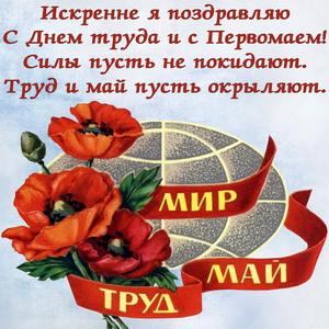 Пожелание к 1 Мая на фоне красных маков