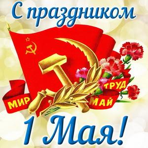 Серп и молот с цветами на фоне флага СССР