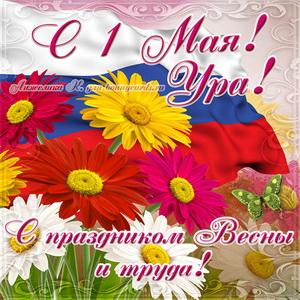 Картинка с цветами и флагом на праздник Весны и Труда