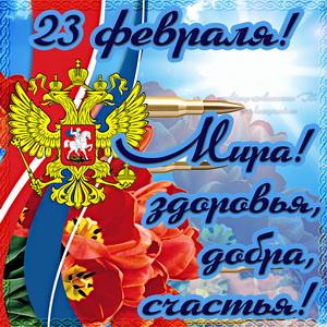 Картинка на 23 февраля с цветами и ярким пожеланием