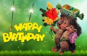 Открытка Happy Birthday, ежики