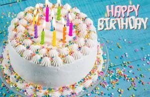 Поздравление Happy Birthday, большой торт со свечами
