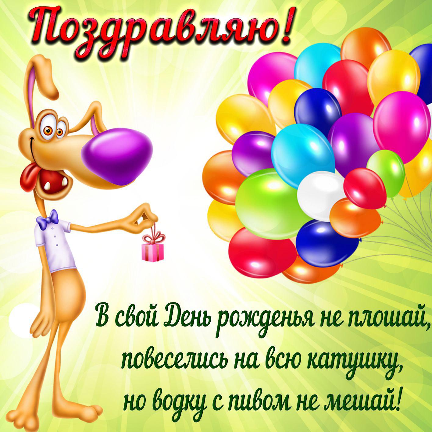 Забавная картинка с шариками для мужчины на День рождения