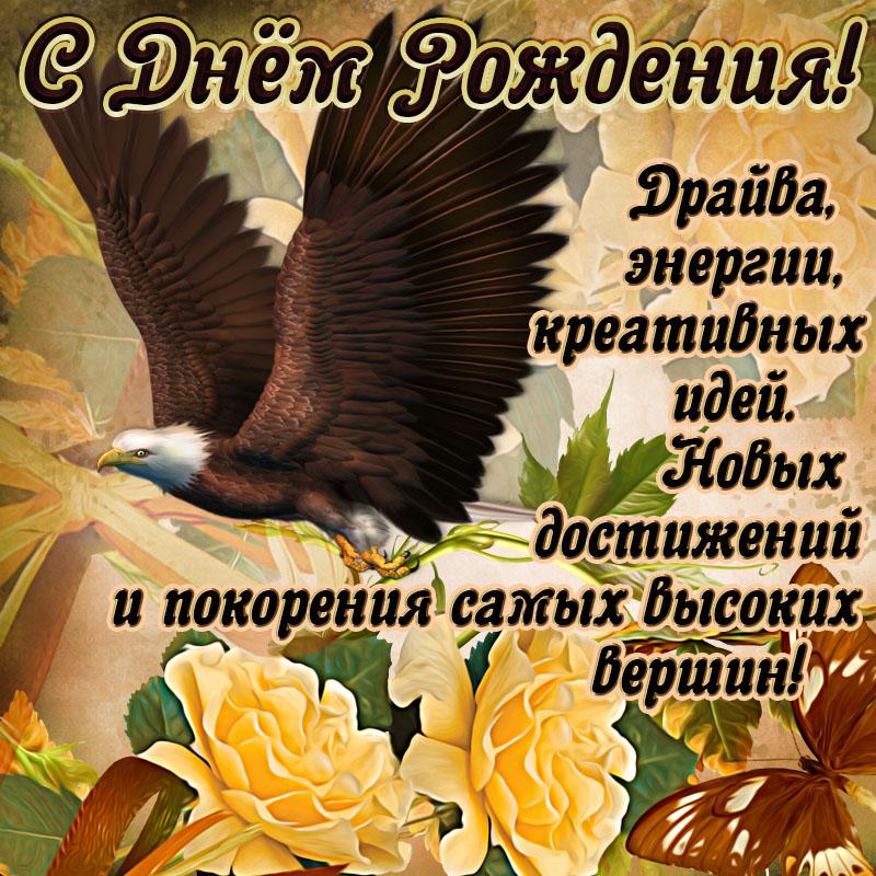Картинка с летящим орлом и пожеланием мужчине на День рождения