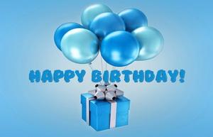 Happy Birthday, воздушные шарики, подарок