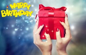 С днём рождения, подарок, женские руки