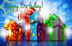 Happy Birthday, подарки, красный, синий, зеленый