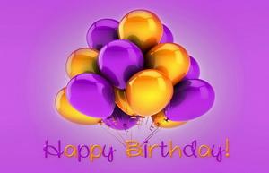 С днем рождения, шарики, фиолетовые, желтые
