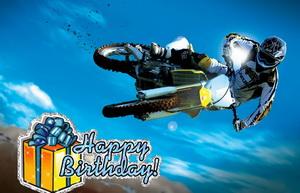 Открытка с поздравлением, мотоцикл в небе