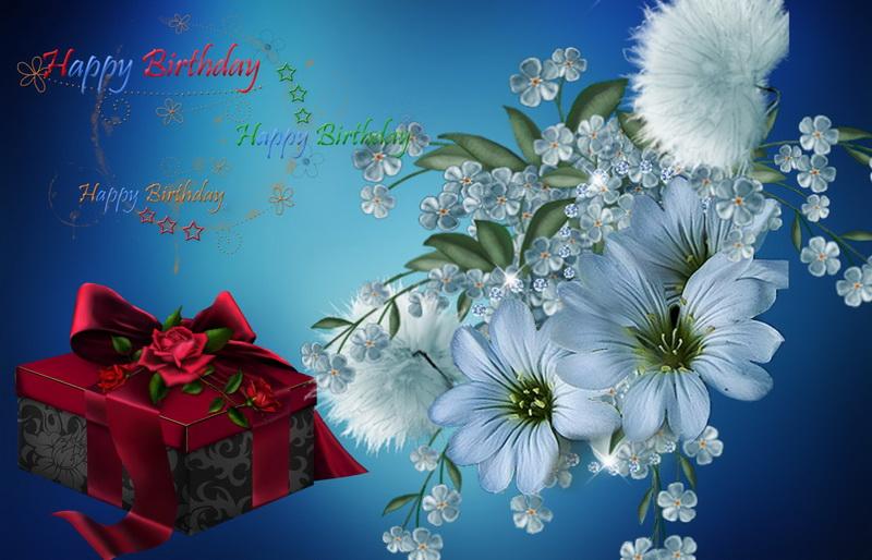 С днём рождения, цветы, подарок.