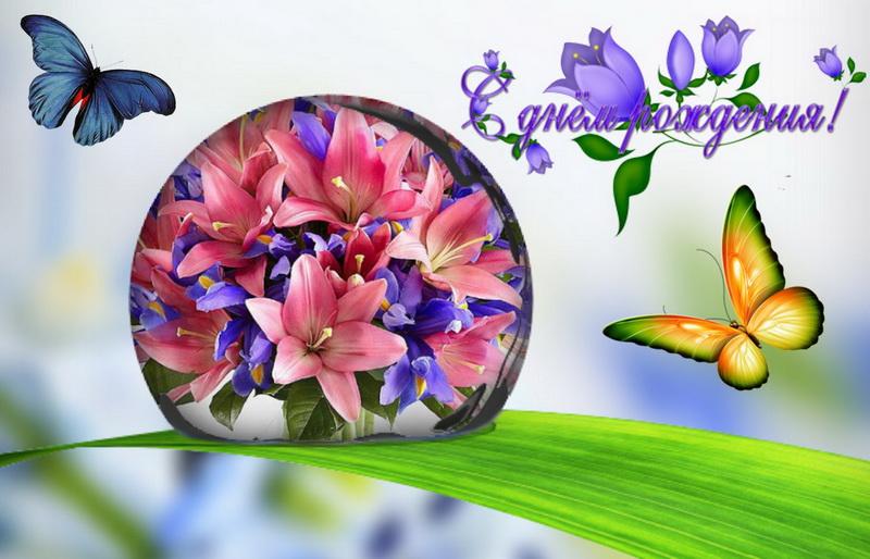 С днём рождения, бабочки, цветы