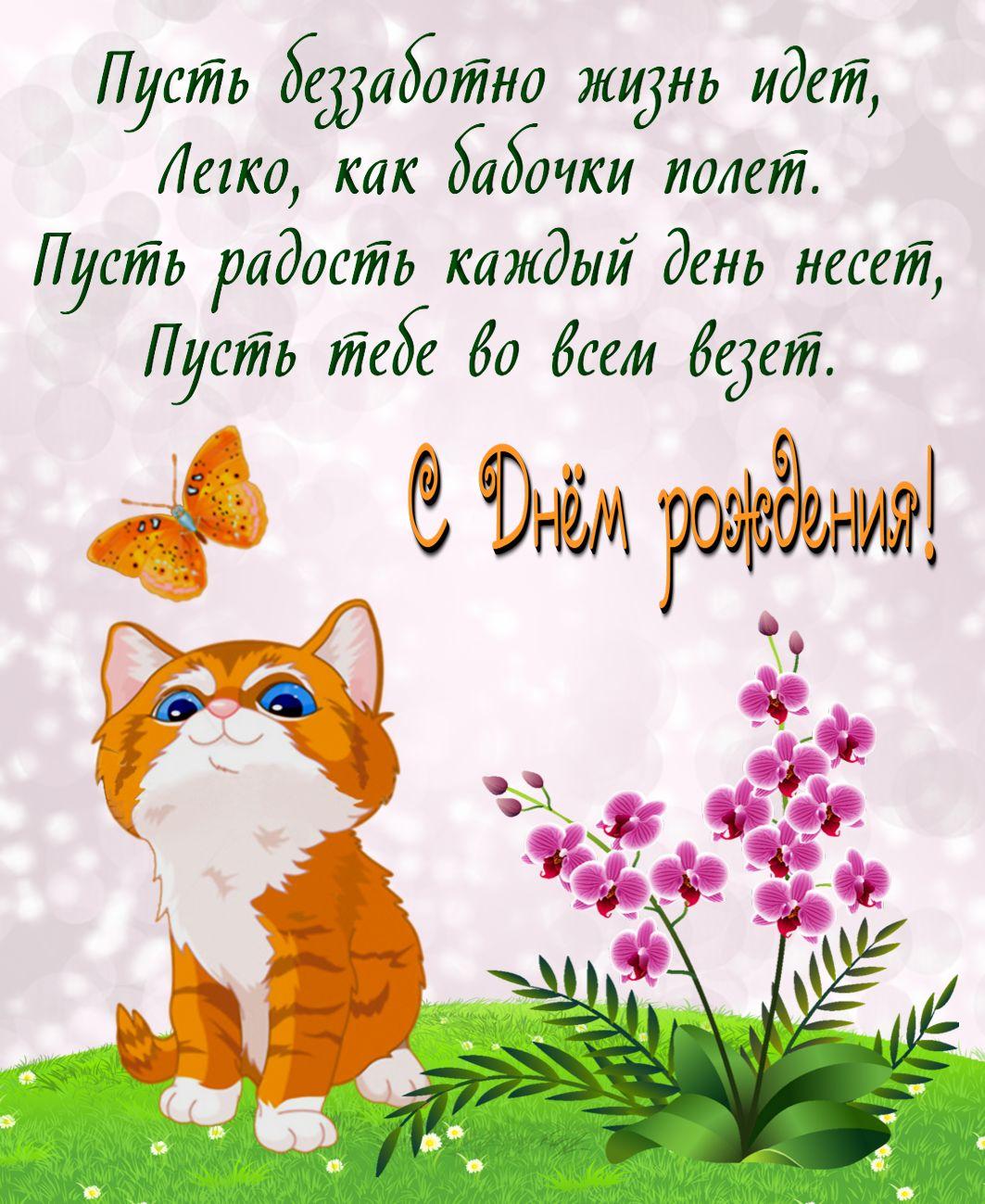 Рыжий котенок поздравляет с Днем рождения