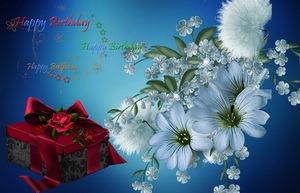 Открытка Happy Birthday, цветы, подарок