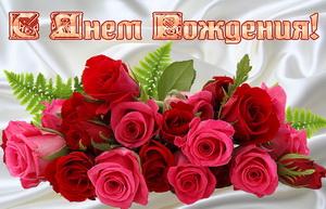 Открытка, большой букет красных роз