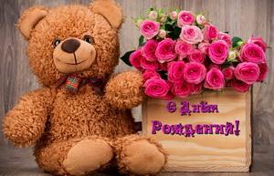 Поздравляю, плюшевый мишка, розовые розы