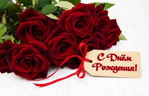 Открытка девушке с красивыми бордовыми розами