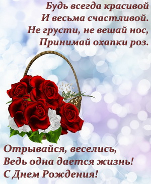Корзина с розами и пожелание для женщины