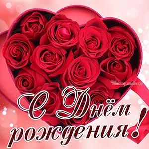 Женская открытка с Днём рождения с красными розами