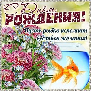 С Днём рождения, пусть рыбка исполнит все твои желания