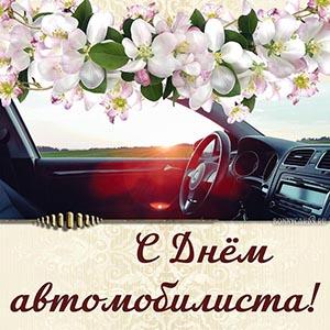 Картинка с цветами и салоном на День автомобилиста