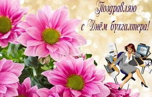 Большие розовые цветы к Дню бухгалтера