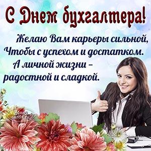 Картинка на День бухгалтера с девушкой и ноутбуком