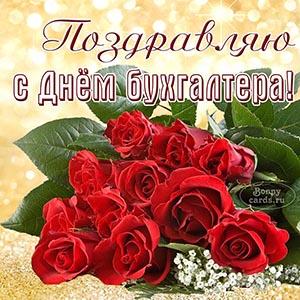Поздравление на День бухгалтера с красными розами