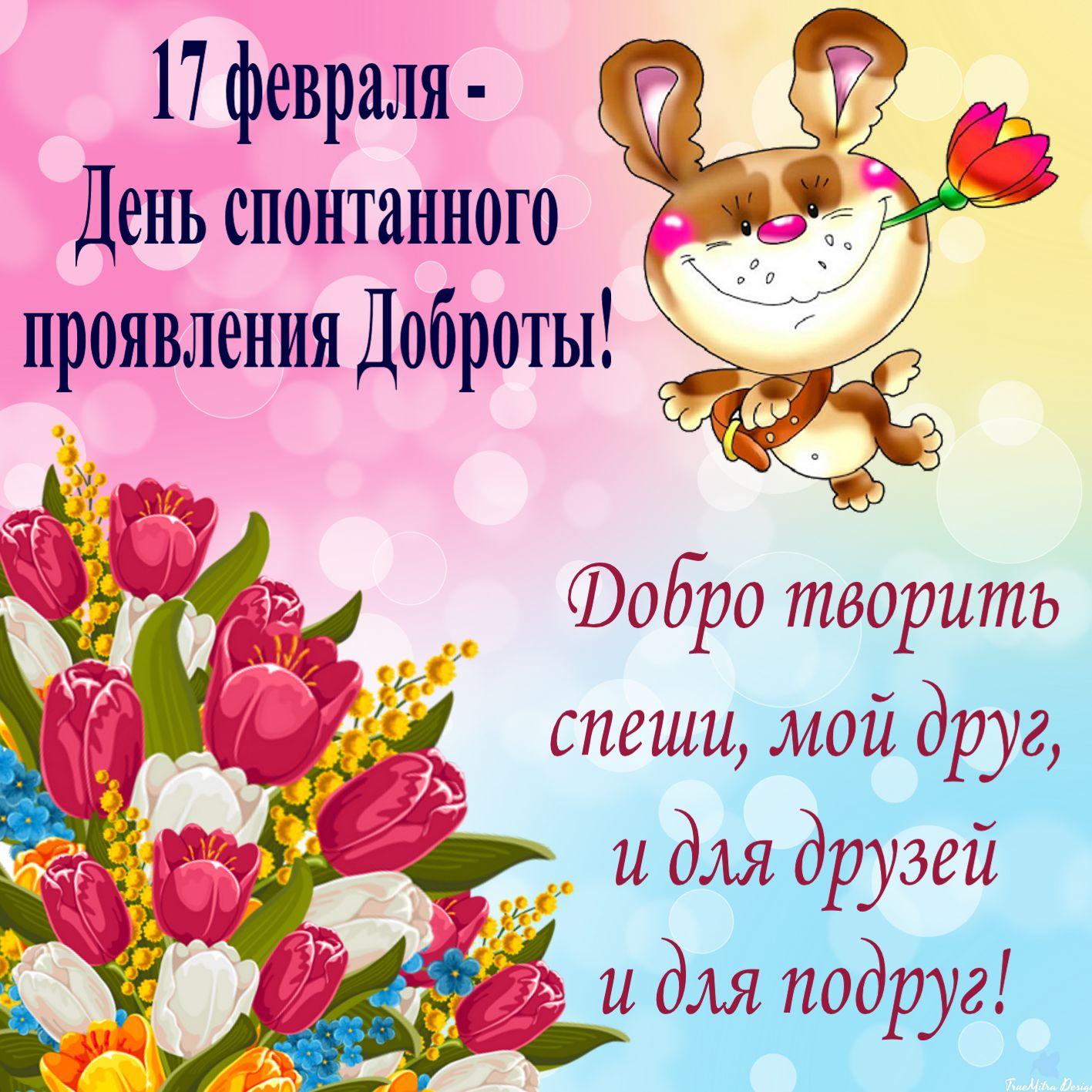 Открытка на 17 февраля с красивыми цветами