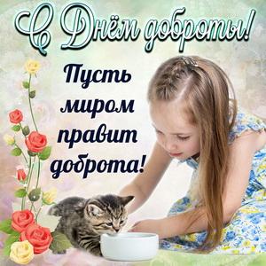 Картинка на День доброты с девочкой и котёнком