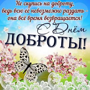 Открытка с цветами и бабочкой на День доброты
