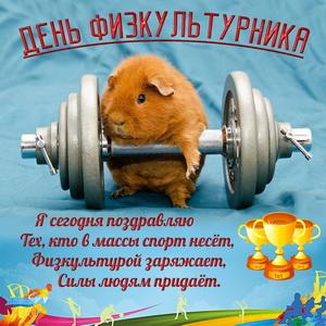 Забавный хомячок с гантелей к Дню физкультурника