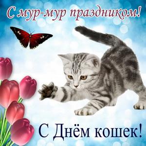 Играющий котенок с бабочкой и тюльпанами