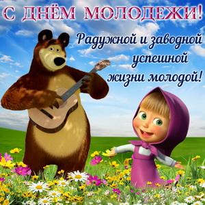 Маша и медведь в поле с цветами