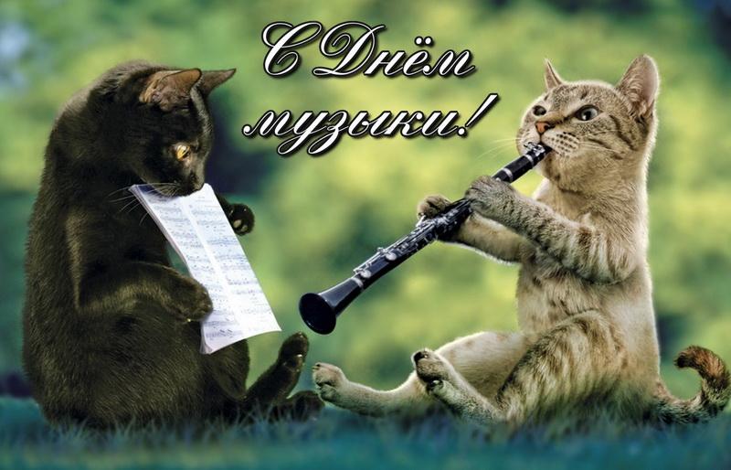 открытка с днем музыки - котята на травке играют на флейте