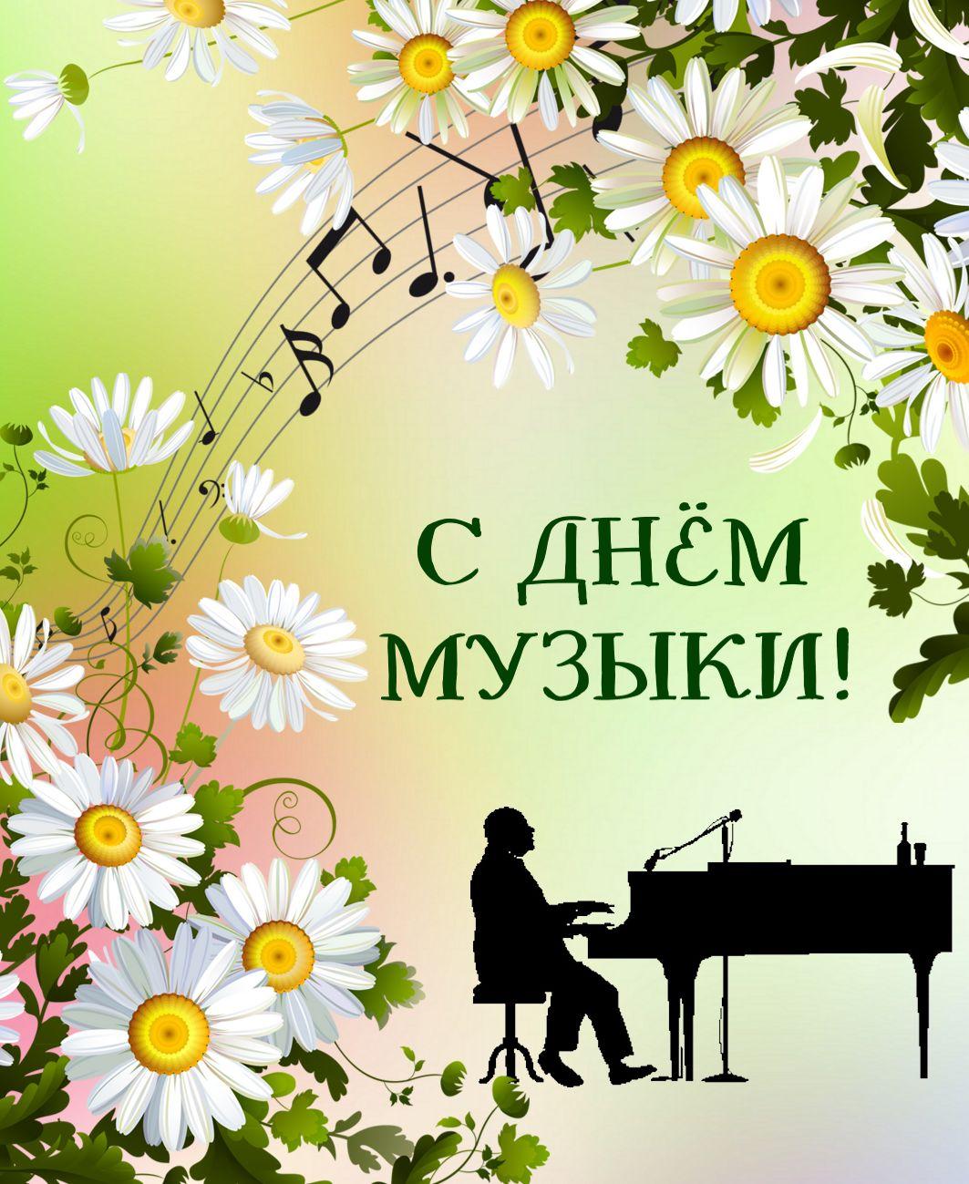 открытка с днем музыки - силуэт музыканта на фоне ромашек