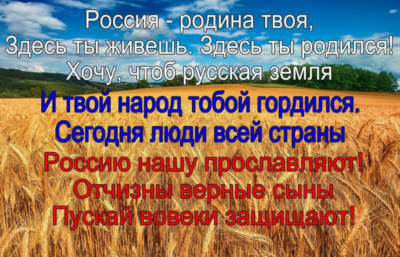 Россия - родина твоя, поле, пшеница