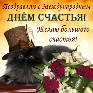 Открытка с котиком в шляпке на День счастья