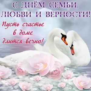 Лебеди среди цветов в воде