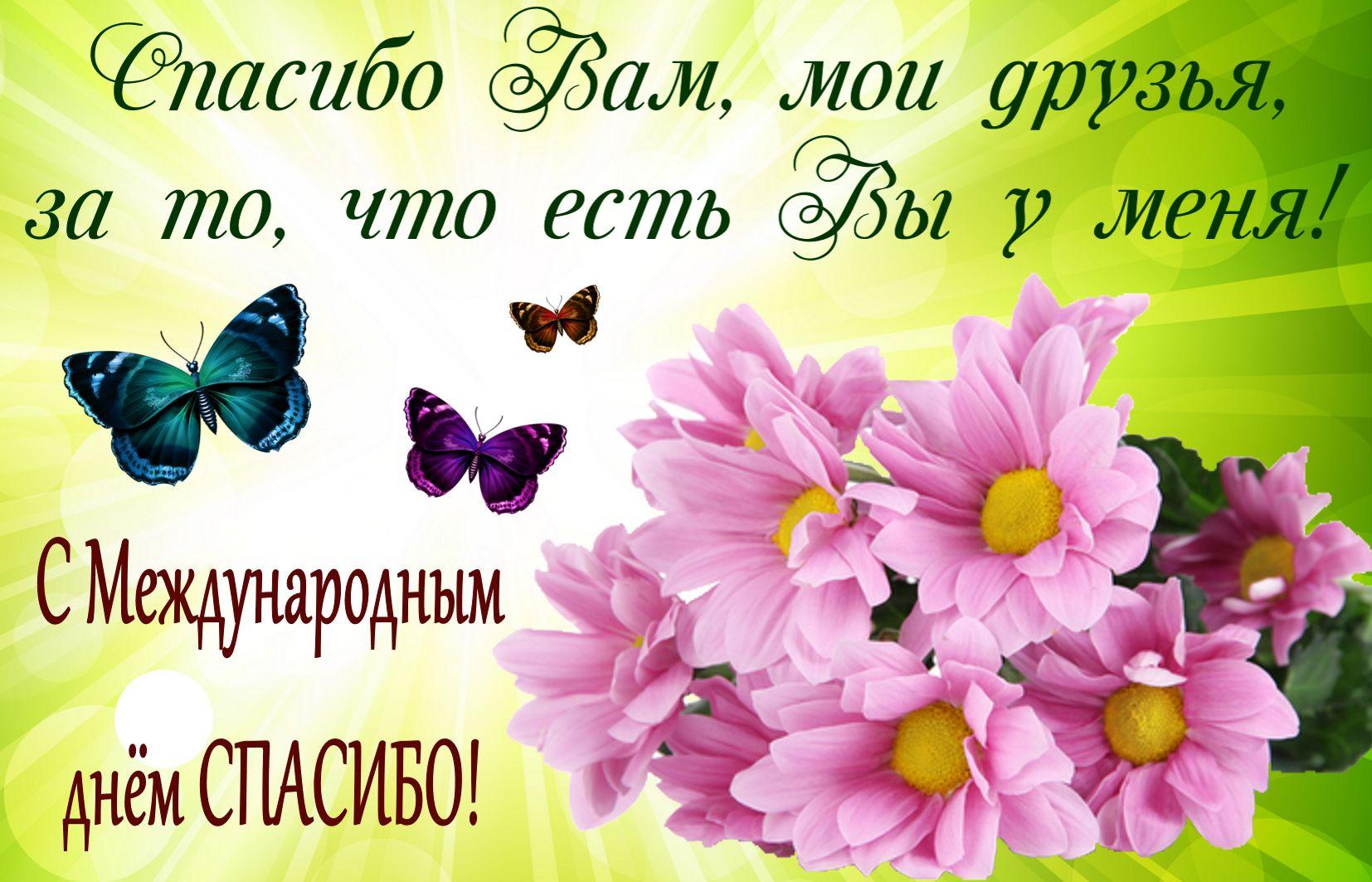 Открытка на День спасибо - розовые цветы в красивом оформлении