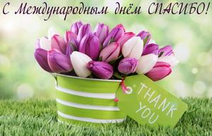 Корзина с разноцветными тюльпанами