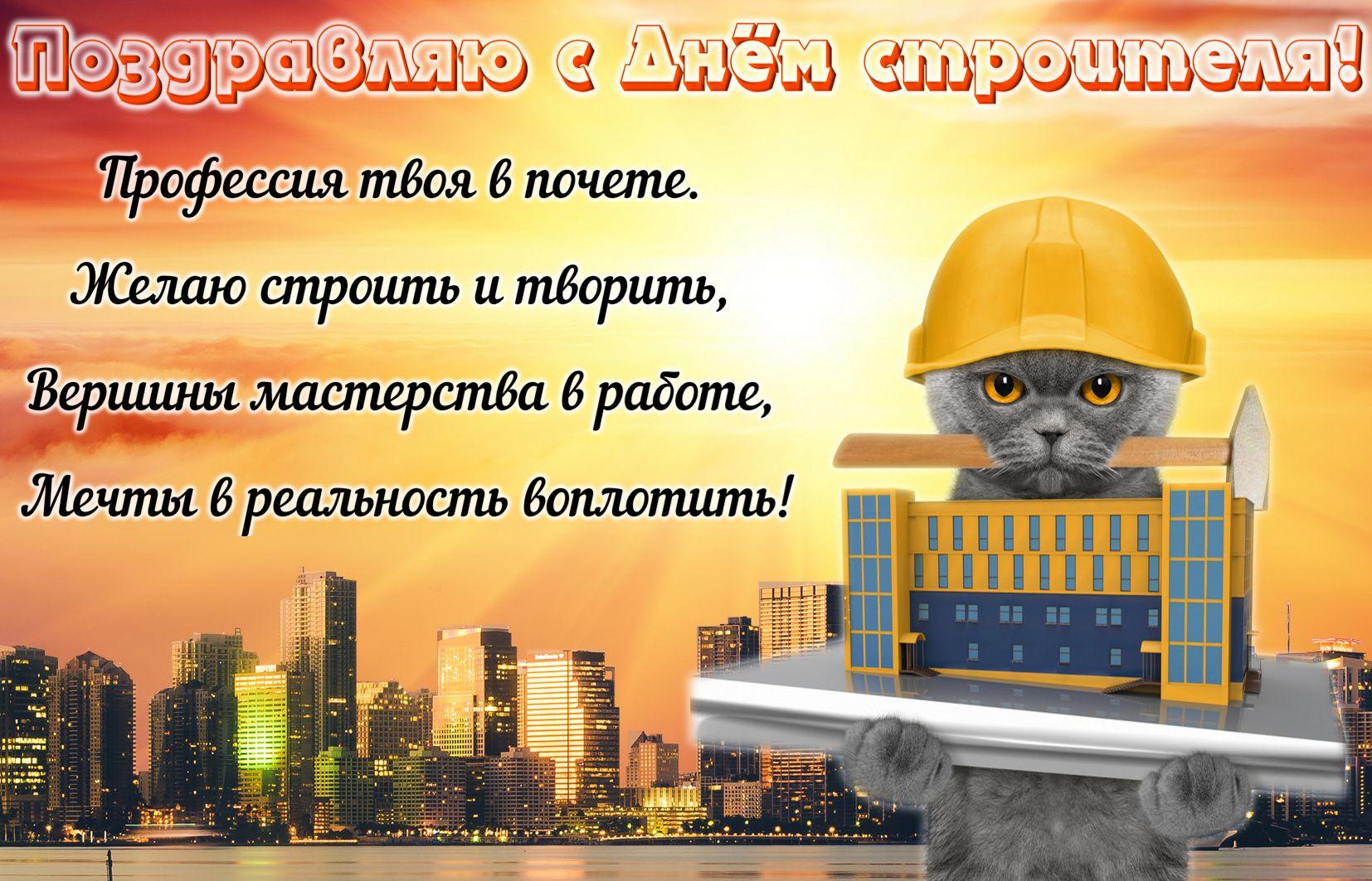 Открытка на День строителя - котик в каске на фоне города