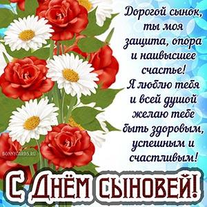 Картинка с розами и ромашками на День сыновей
