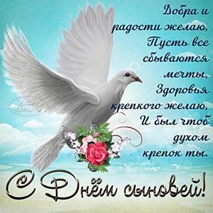 Картинка с голубем и стихами на День сыновей