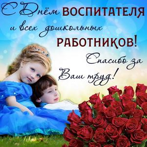 Картинка с букетом роз на День всех дошкольных работников