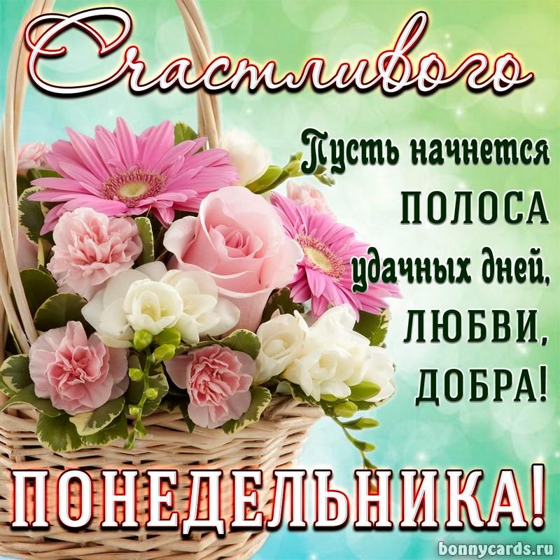 Открытка с корзиной цветов для счастливого понедельника