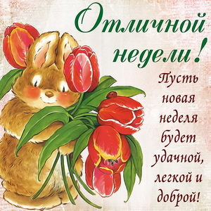 Картинка с кроликом желающим отличной недели