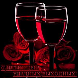 Открытка с бокалами и розами
