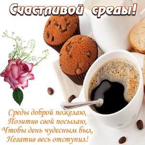 Кофе с кексами на красивой картинке на среду