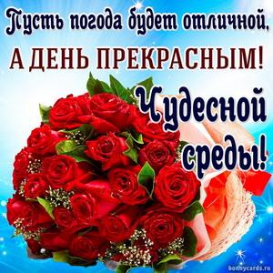 Открытка с пожеланием чудесной среды и ярким букетом роз