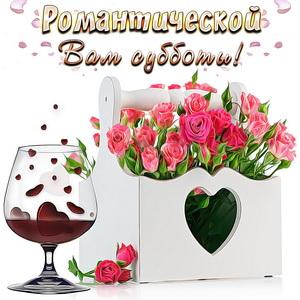 Картинка с розами и бокалом